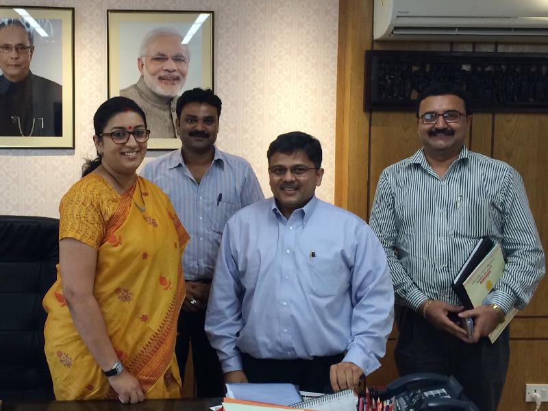 Pranav Desai with Smriti ji, H'ble Cabinet Minister for Human Resource & Development, Govt of India