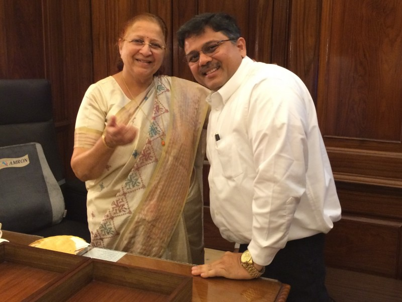 Pranav with H'ble Speaker of LokSabha Sumitra ji (Tai)