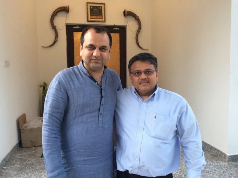 Pranav with National Secretary of BJP and MP East Delhi Shri Maheish Girri ji