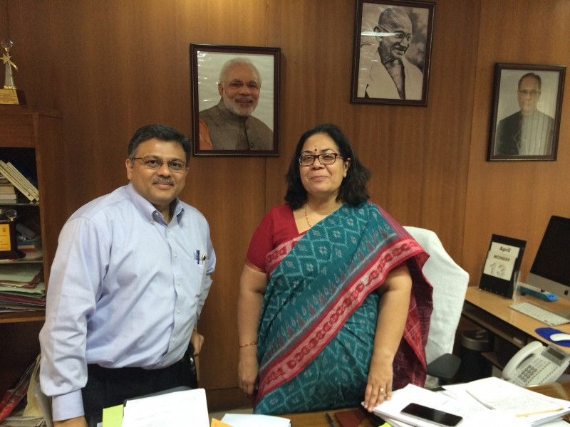 Pranav with Chairperson National Woman Commission Smt Lalitha Kumarmangalam