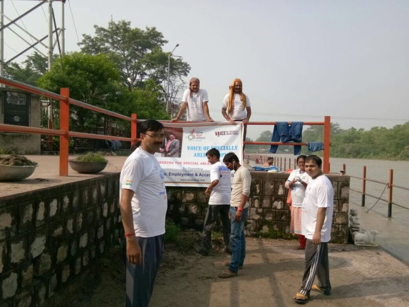 VoSAP Team Haridwar, India,, cleaning Accessible Ganga Ghat