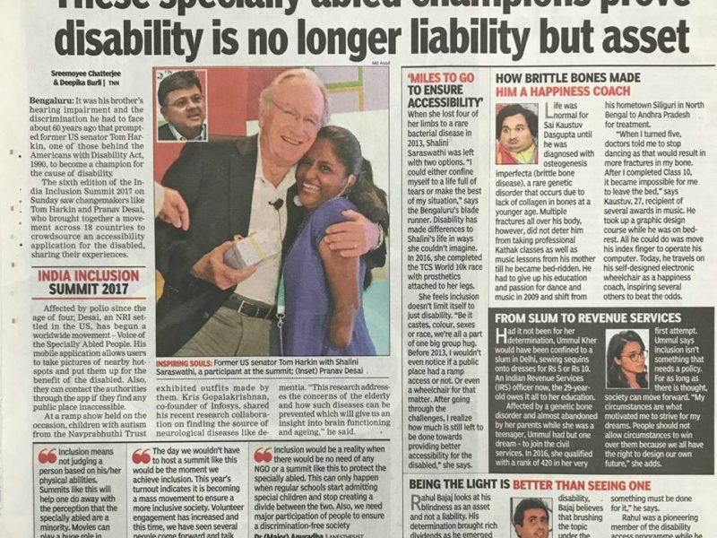 VoSAP Vision presented at India Inclusion Summit along with Tom Harkin