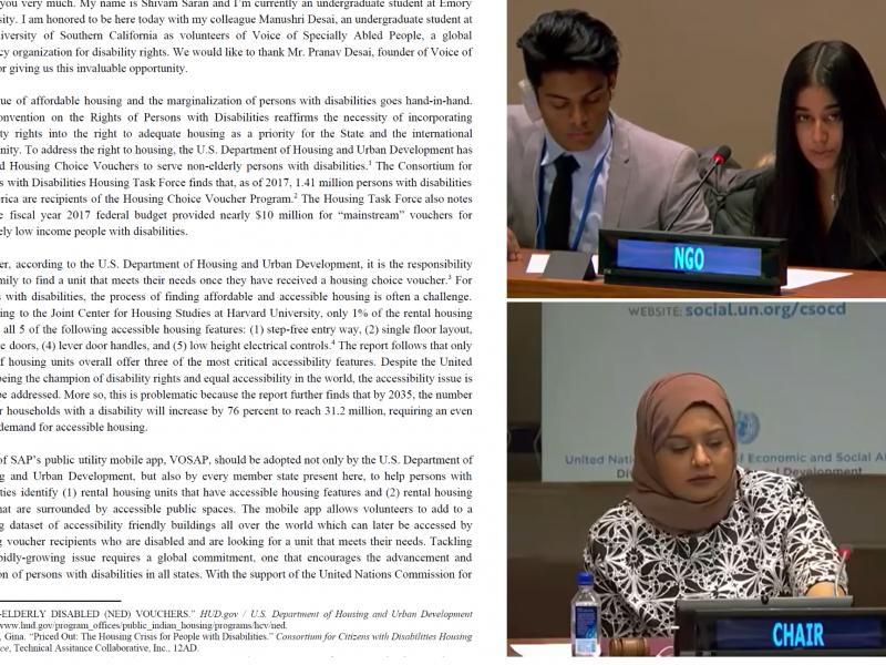 VOSAP PResenting Statement at UN – CSocD58